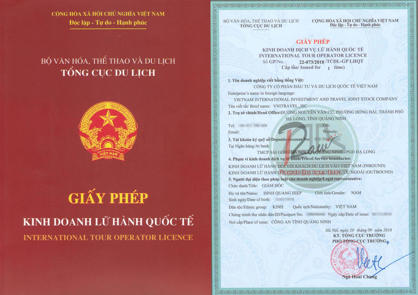 giấy phép kinh doanh lữ hành quốc tế