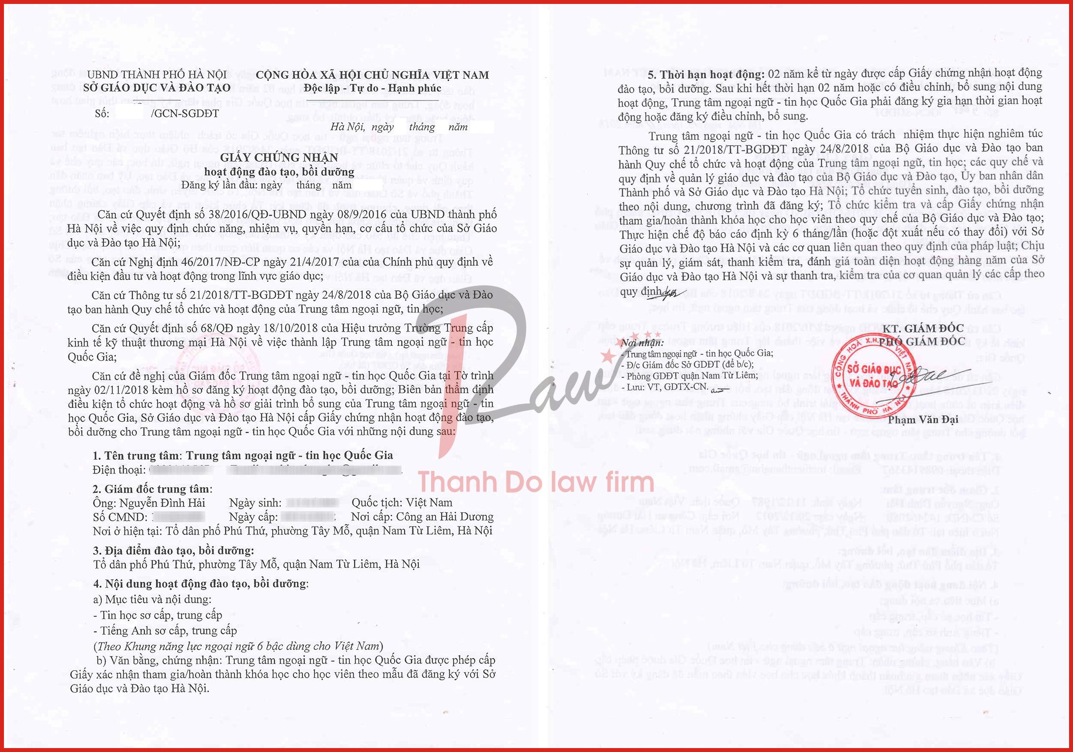 mẫu giấy chứng nhận thành lập trung tâm ngoại ngữ