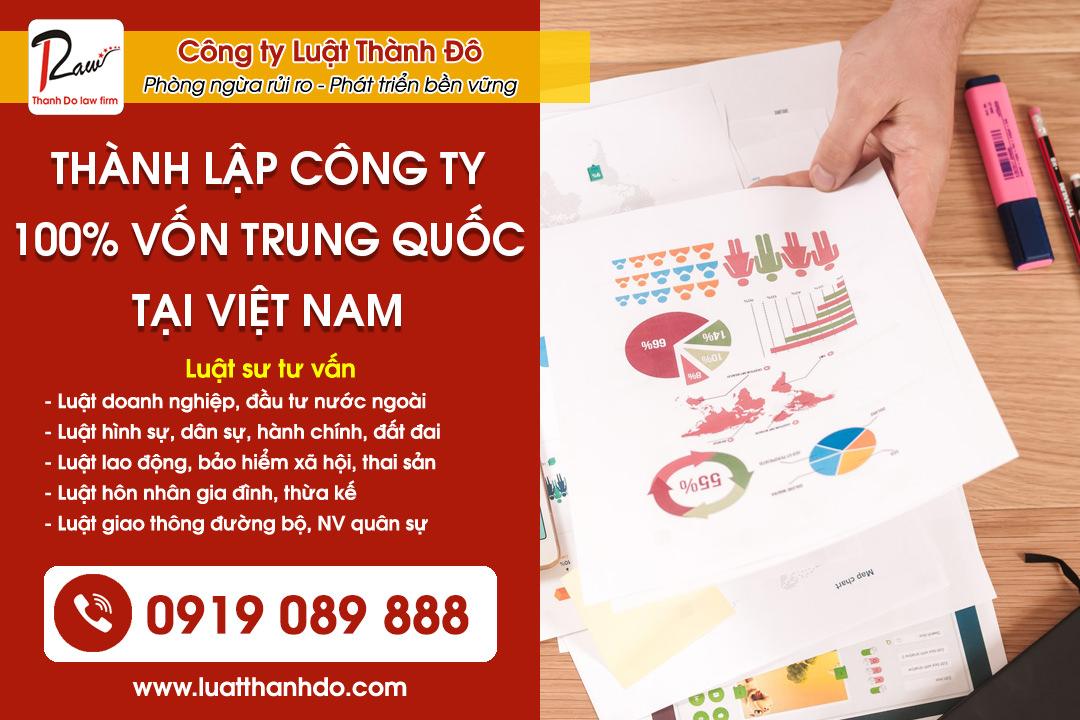 Thành lập công ty 100% vốn Trung Quốc tại Việt Nam