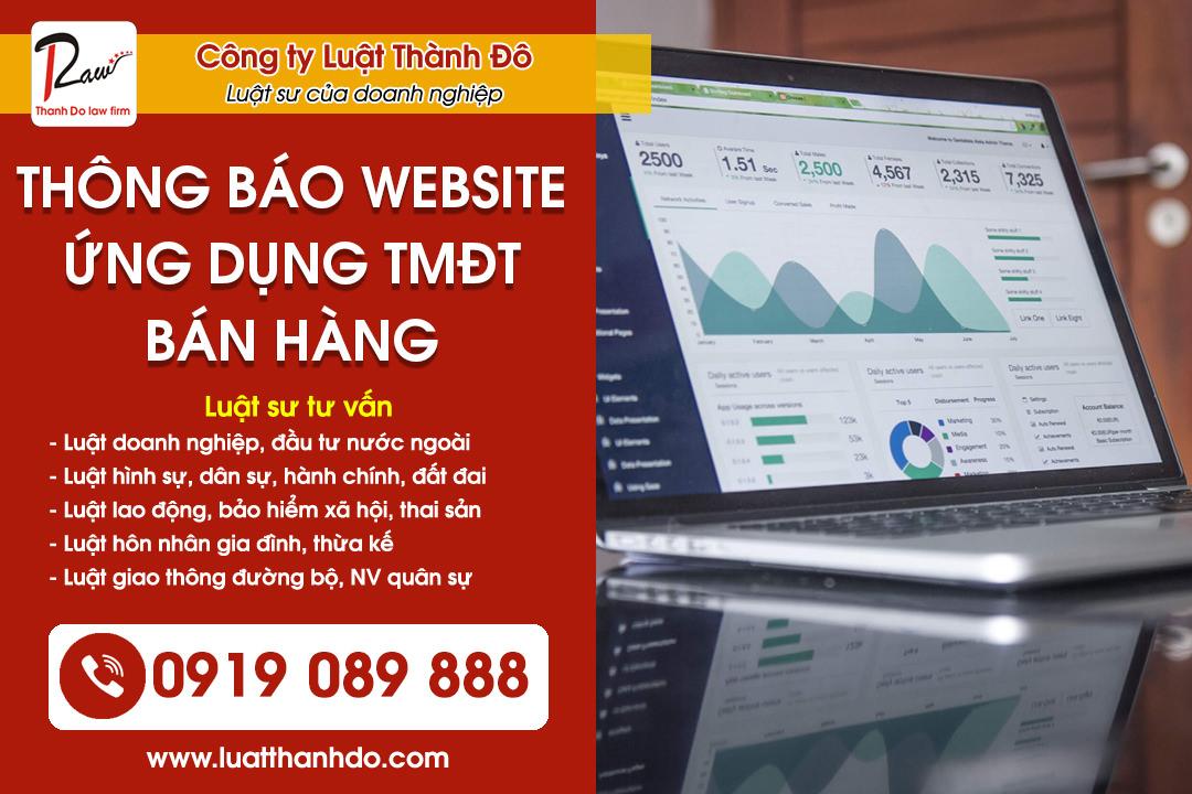 Thủ tục Thông báo website/ứng dụng thương mại điện tử bán hàng