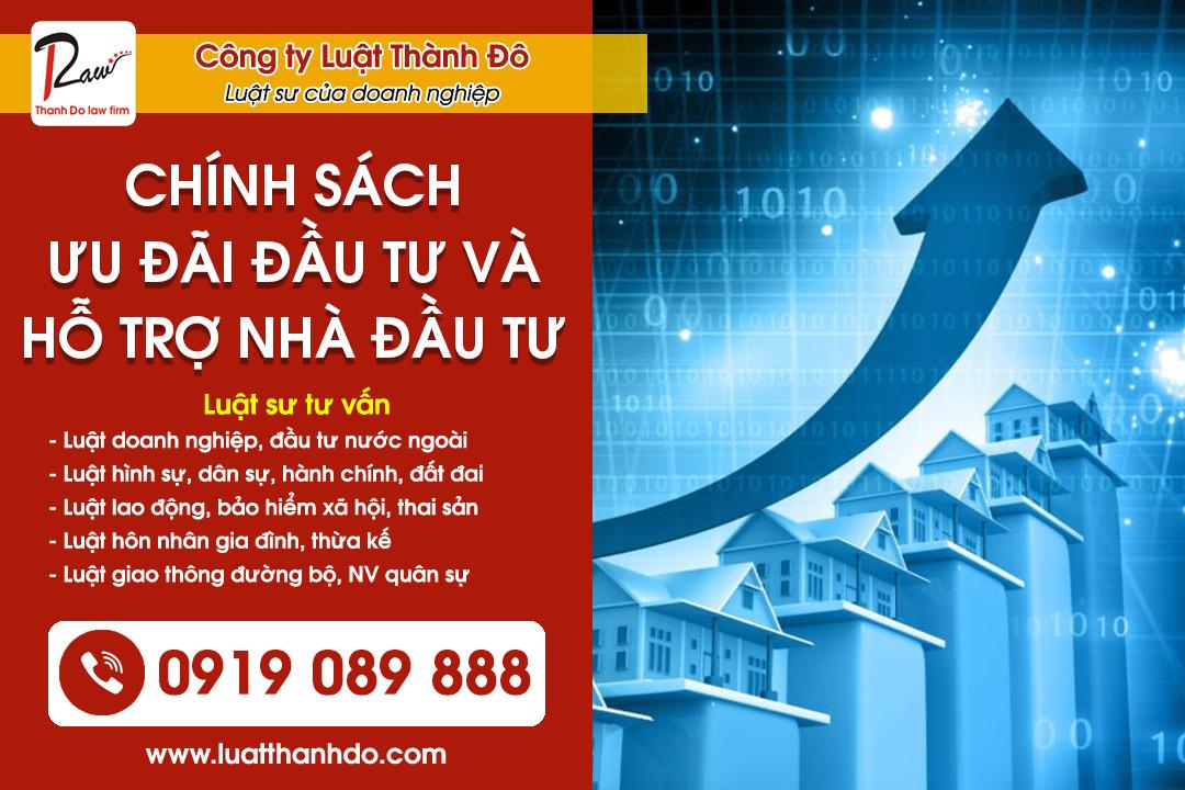 Chính sách ưu đãi và hỗ trợ đầu tư cho nhà đầu tư